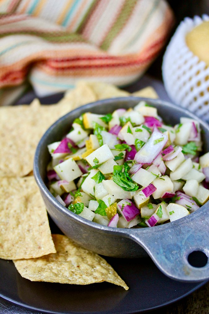 pear salsa with chips