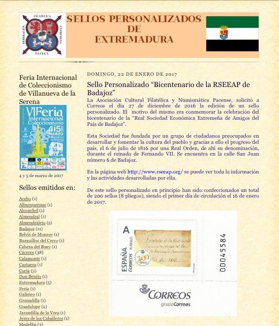 Sellos Personalizados de Extremadura. RSEEAP Badajoz