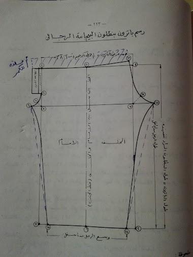 رسم باترون البيجامة الرجالى (ثانيا: البنطلون)