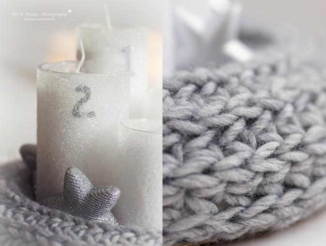 DIY Strick Adventskranz selber machen aus Schal
