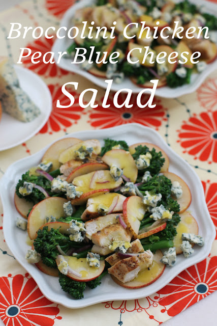 Food Lust People Love: Who says greens have to be leafy to make a great salad? Lightly cooked broccolini adds great flavor and bite to this wonderful recipe for broccolini chicken pear blue cheese salad.