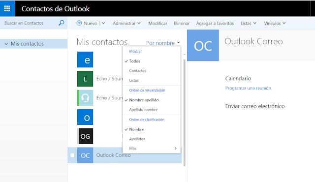 Elementos del apartado Contactos en Outlook.com