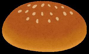 ハンバーガーの具材のイラスト(ゴマ付きクラウン(上部))