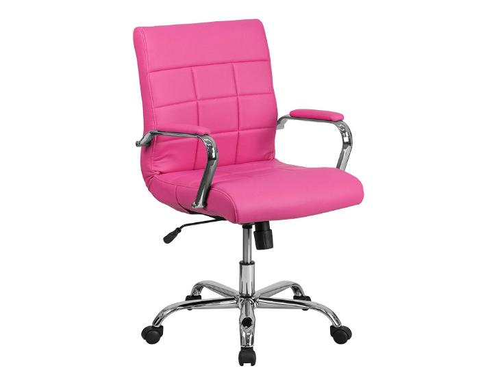 Flash Furniture Mid-Back Pink Vinyl Executive Swivel Chair