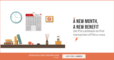 Freecharge Rs.50 cashback on Recharge Of Rs.50 June50