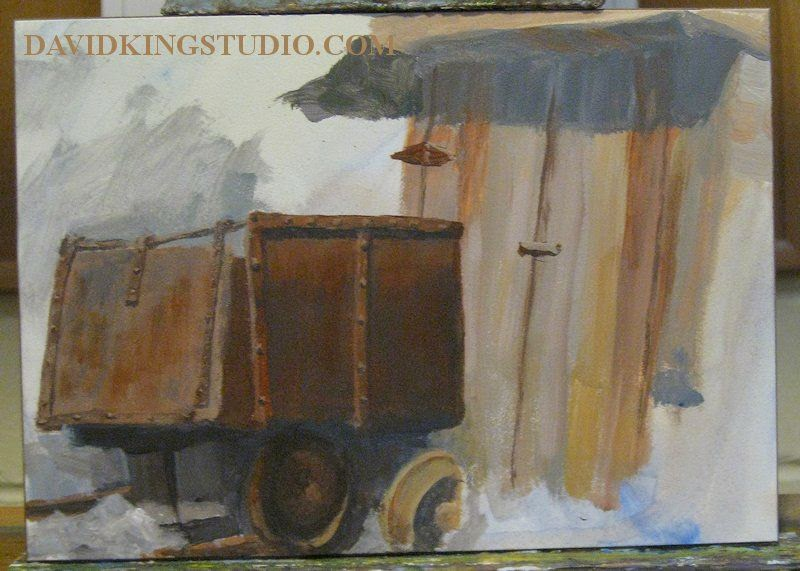 art artwip wip ore cart painting mine
