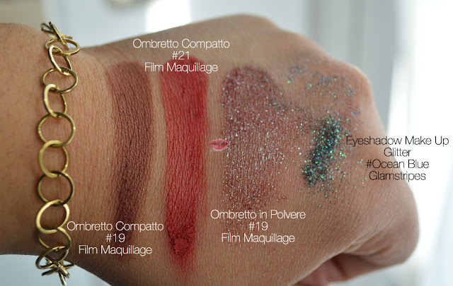 Eyeshadow swatches 19 - 21 ny Film Maquillage, Pigmento 19 di Film Maquillage e Glitter Ocean Blue di Glamstripes