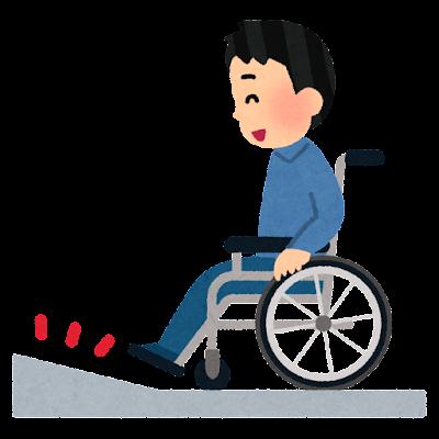 車椅子に乗る人とスロープのイラスト