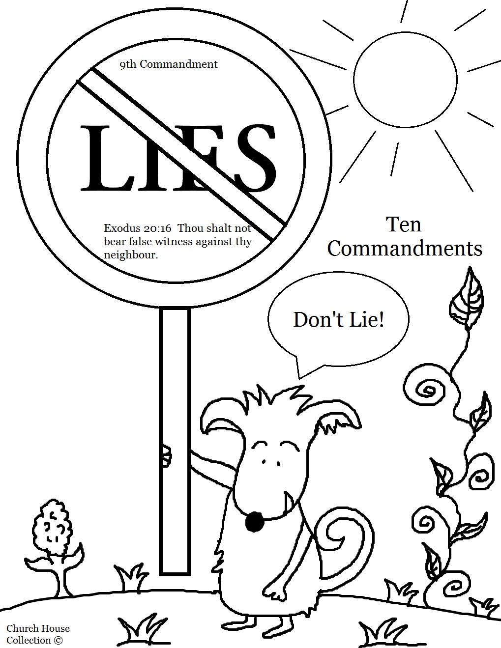church house collection blog thou shalt not lie coloring page for