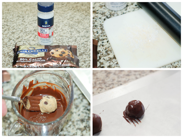 Coating cookie dough truffles by The Sweet Chick