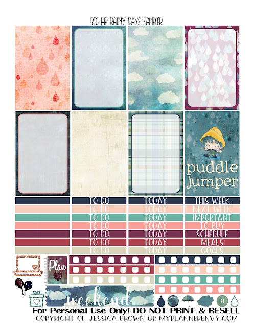 Free Printable Rainy Days Sampler for the Original Stay Golden Big Happy Planner from myplannerenvy.com