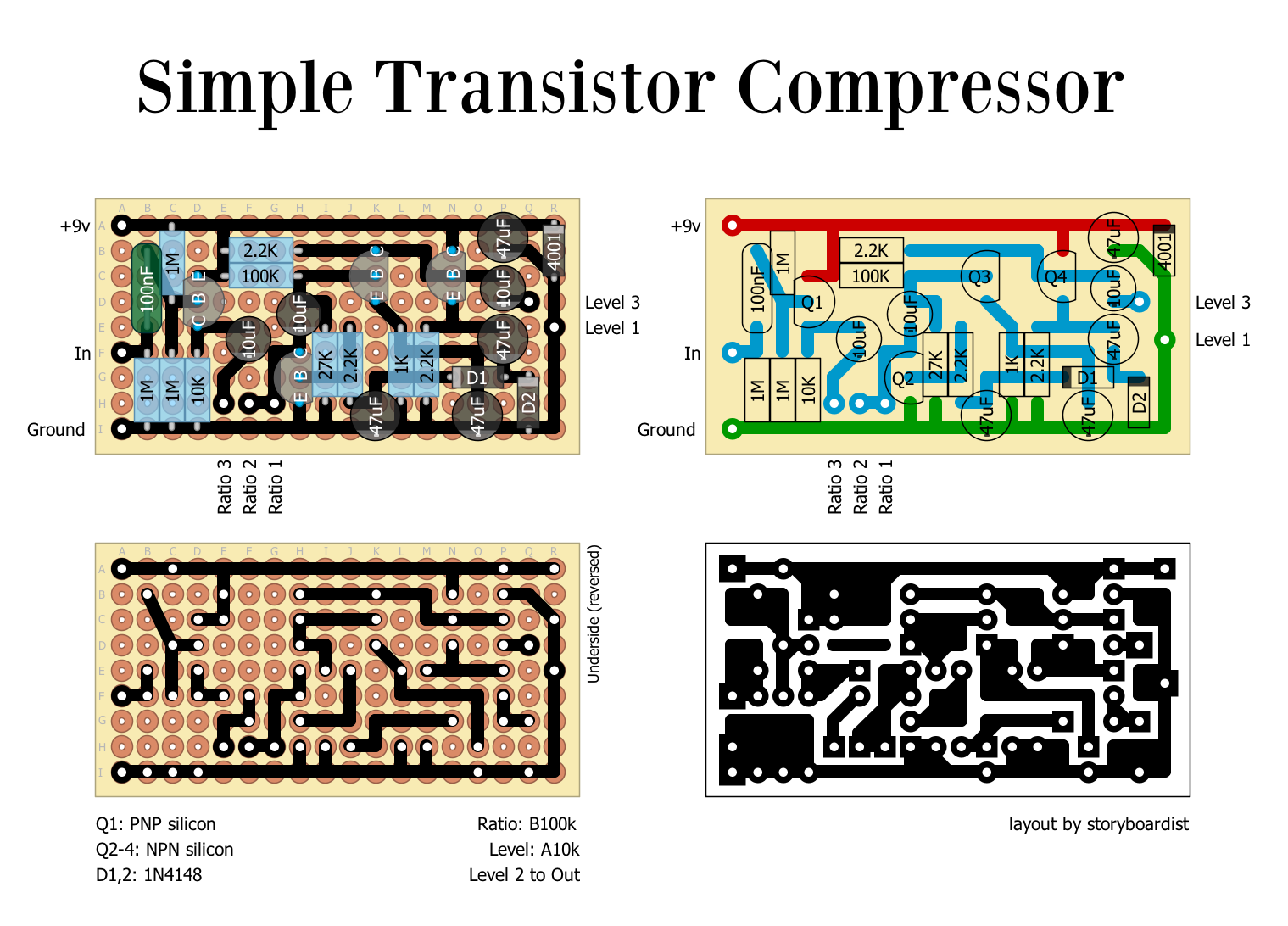 perf and pcb effects layouts simple transistor compressor. Black Bedroom Furniture Sets. Home Design Ideas