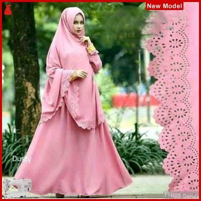 FHGS9030 Model Syari Zetta D, Perempuan Pink Gamis Wolly BMG