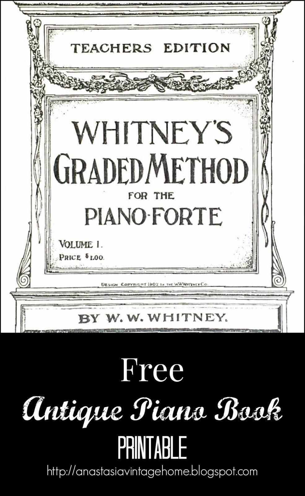 Free Antique Piano Book Printable | Anastasia Vintage
