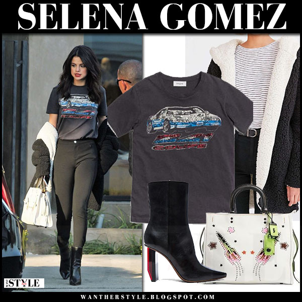 Selena Gomez in black print t-shirt coach, skinny jeans and black ankle boots vetements what she wore