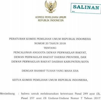 PKPU Pencalonan anggota legislatif