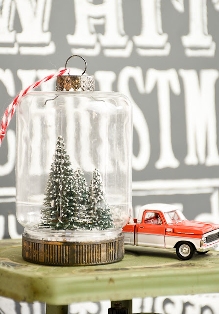 Dollar Tree bottle brush jar ornaments