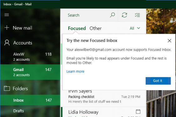 Fitur baru Aplikasi Mail pada Windows 10