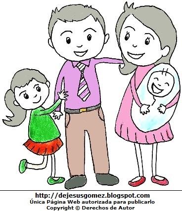 Dibujo de la Familia (Padre, madre con hijos). Dibujo de familia de Jesus Gómez