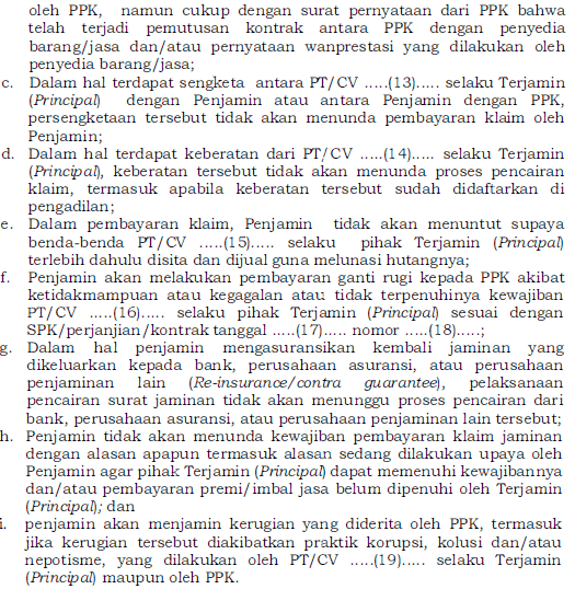 surat pernyataan jaminan uang muka kontraktual
