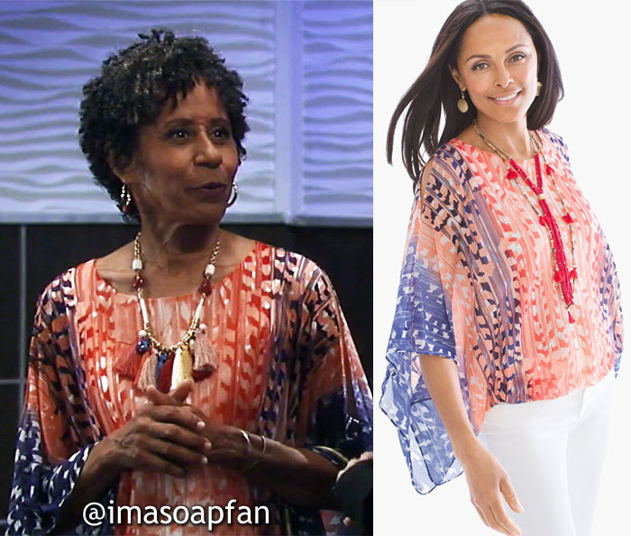 Stella Henry, Vernee Watson, Red and Blue Abstract Print Draped Top, General Hospital, GH