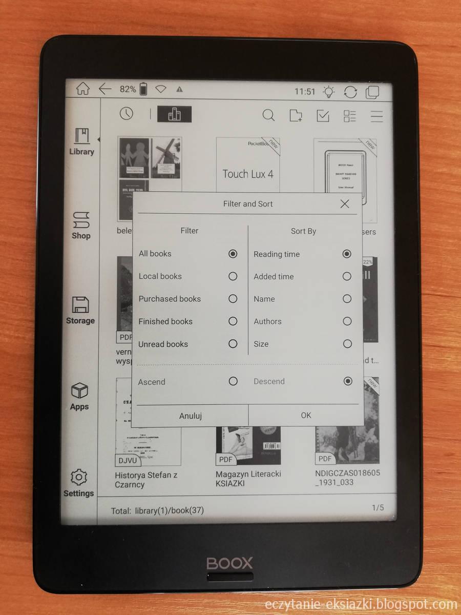 Onyx Boox Nova – opcje sortowania i filtrowania biblioteki
