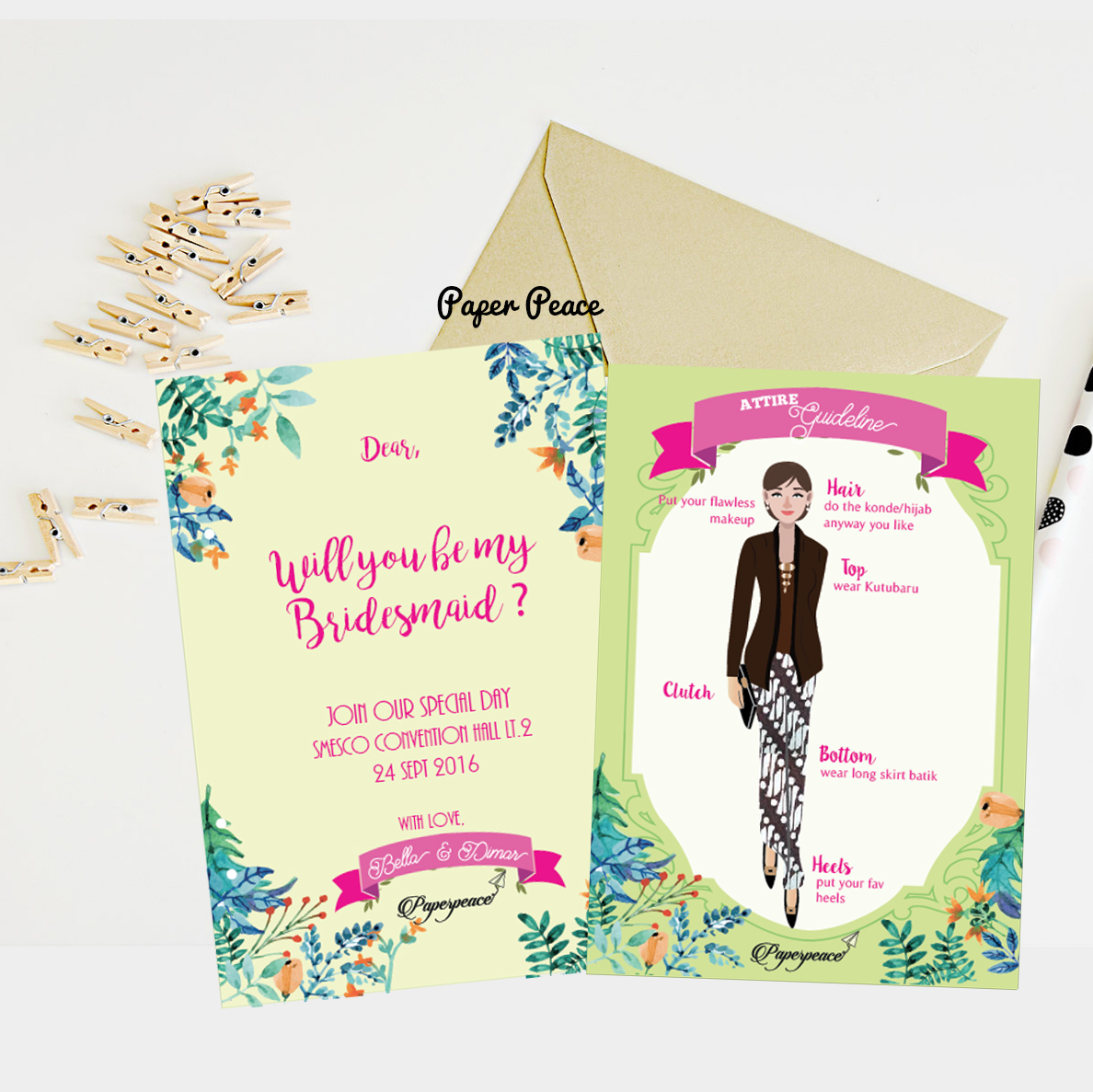 paperpeace: Bridesmaid Card & Attire Guide for Ms. Bella's