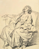 Young Woman Seated in an Armchair by Jean-Baptiste Greuze - Genre Drawings from Hermitage Museum