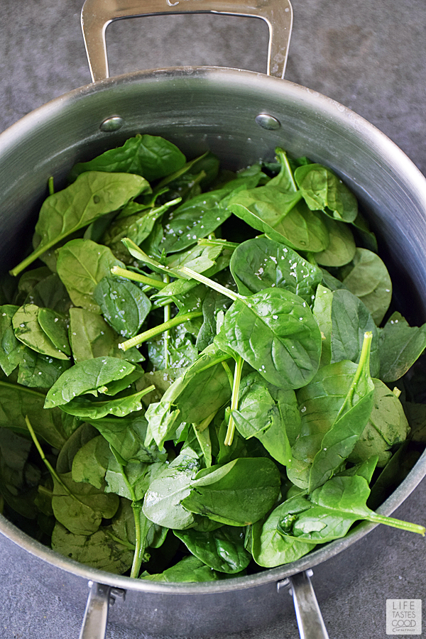 Saute spinach in the same pot