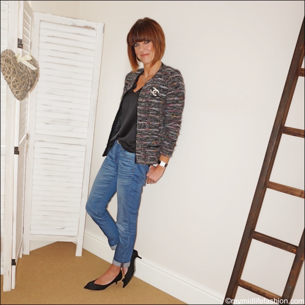 my midlife fashion, Chanel brooch, Isabel Marant Etoile boucle jacket, j crew boyfriend jeans, Zara kitten heel bow shoes, marks and Spencer silk top
