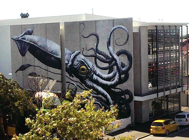 Giant Squid mural by Belgian Street Artist on the streets of Nelson, New Zealand. 1
