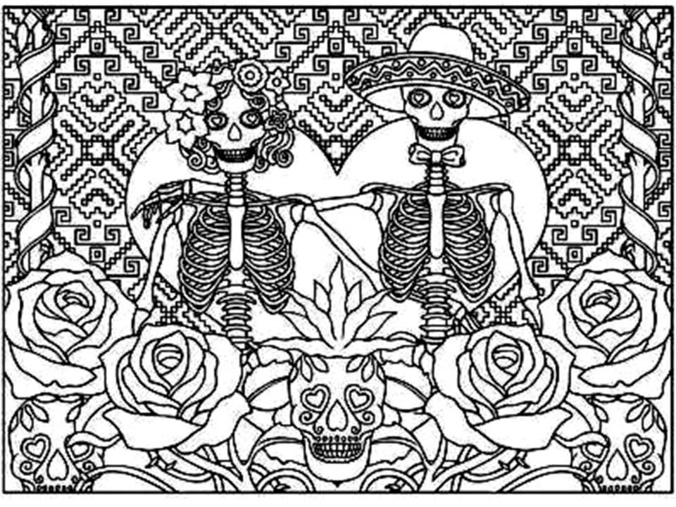 Pinto Dibujos: Mandala Del Día De Muertos Para Colorear