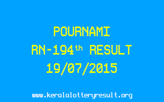 POURNAMI RN 194 Lottery Result 19-7-2015