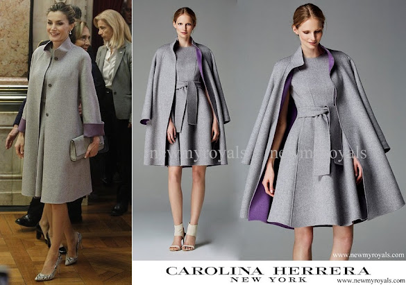 Queen Letizia wore Carolina Herrera coat and dress from Fall 2016 collection
