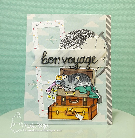 Bon Voyage! Cat in Suitcase Card by Naki Rager | Stowaway Newton Stamp Set by Newton's Nook Designs #newtonsnook