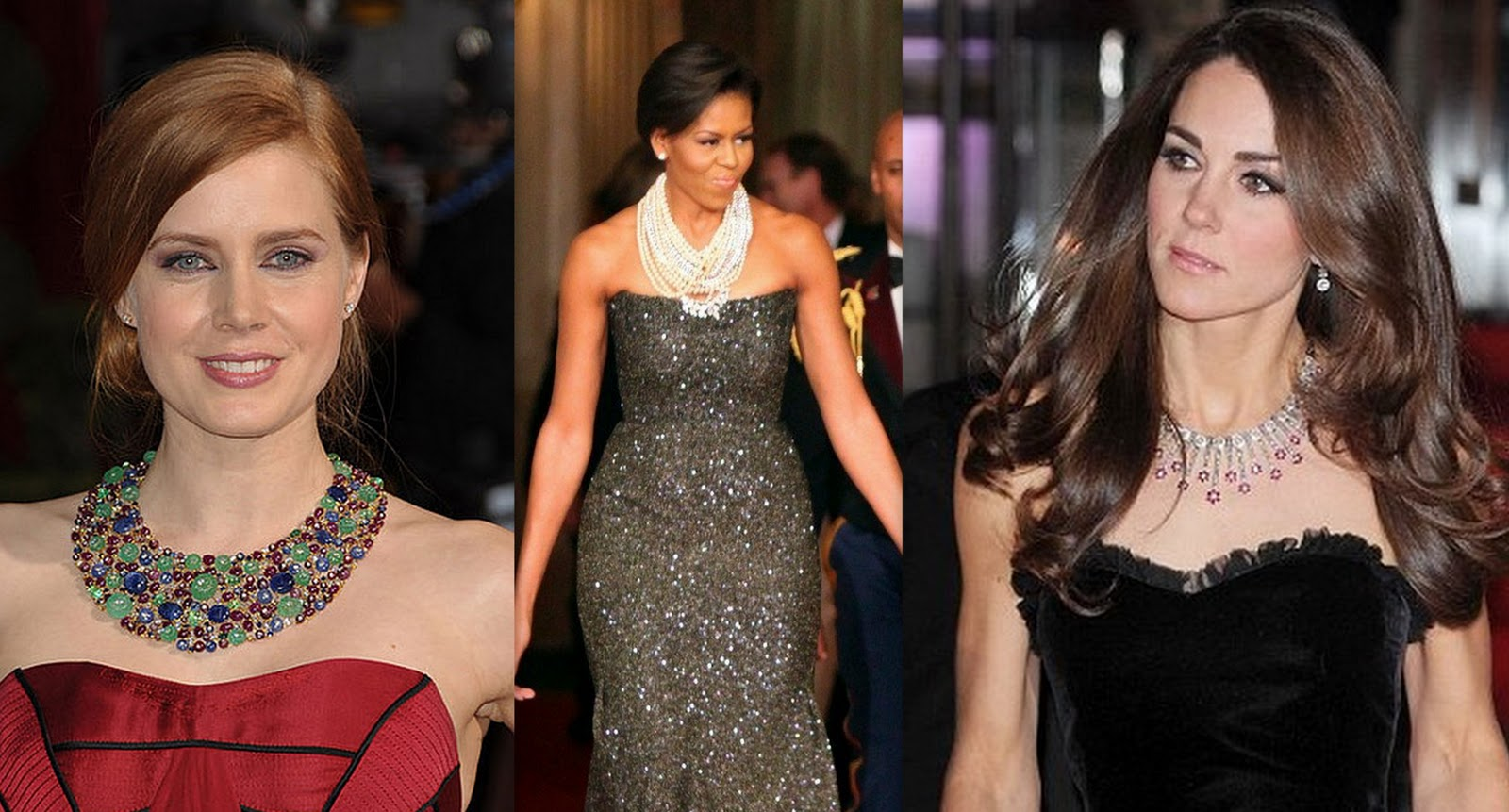 Amy Adams Michelle Kate Middleton Rock The Statement Necklaces With Strapless Gowns