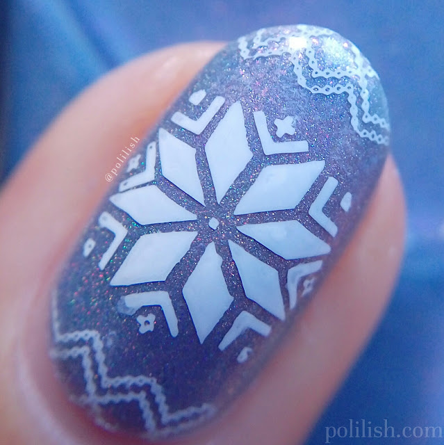 Christmas winter snowflakes nail art with Cadillacquer 'Awakening' | polilish