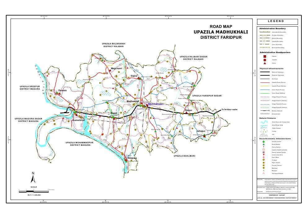 Madhukhali Upazila Road Map Faridpur District Bangladesh