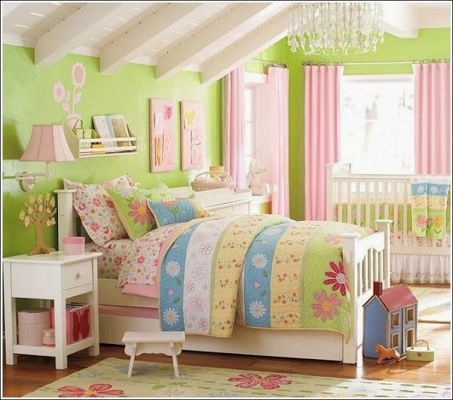 Dormitorios para niu00f1a en rosa y verde limu00f3n - Dormitorios colores y ...