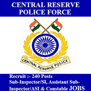 Central Reserve Police Force, CRPF, 10th, SI, ASI, Sub Inspector, Assistant Sub Inspector, Constable, Force, freejobalert, Sarkari Naukri, Latest Jobs, Hot Jobs, crpf logo