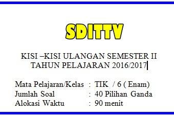 KISI - KISI SOAL UJIAN SEKOLAH (US) TIK SD/MI Tahun ajaran 2016/2017