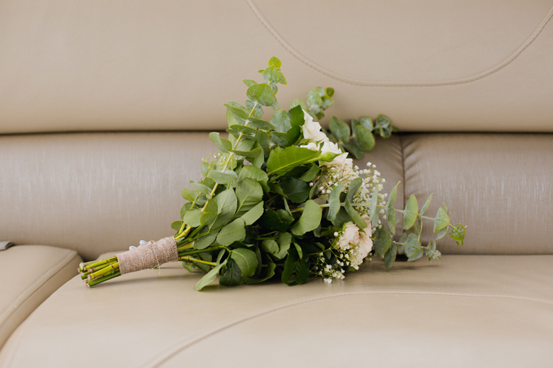 bridal bouquet on boat