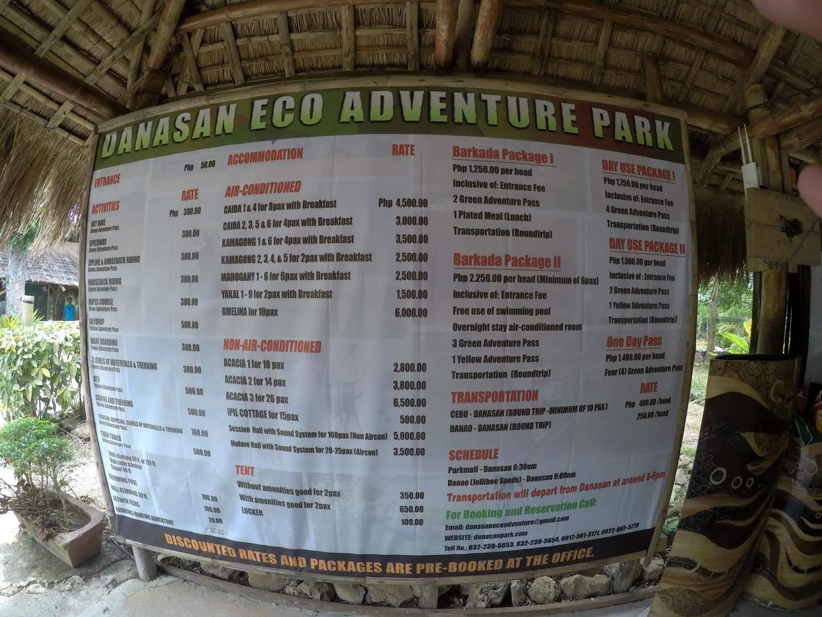 Blithe Danasan Eco Adventure Park Rates