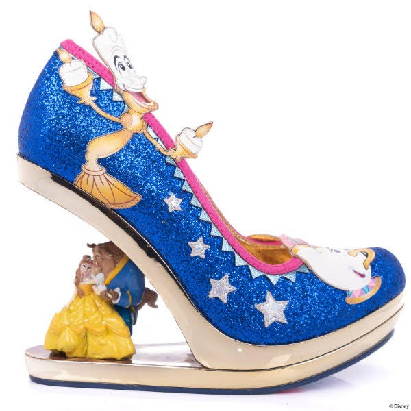 blue glitter shoe side on with Belle and Beast character wedge heel