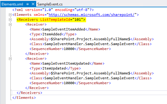 Lucky tech share custom event handler in sharepoint 2013 using the highlighted part in above image depicts that we are applying this event for list template101 which is document library maxwellsz