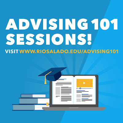 Poster for Advising 101 Sessions.   Illustrated images of academia: books, laptop, graduation cap