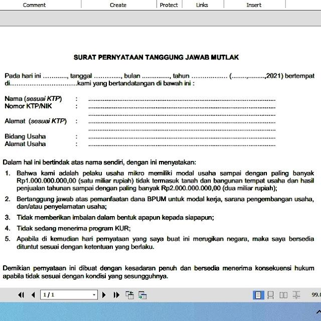 Surat Pernyataan Tanggung Jawab Mutlak (SPTJM) BPUM 2021