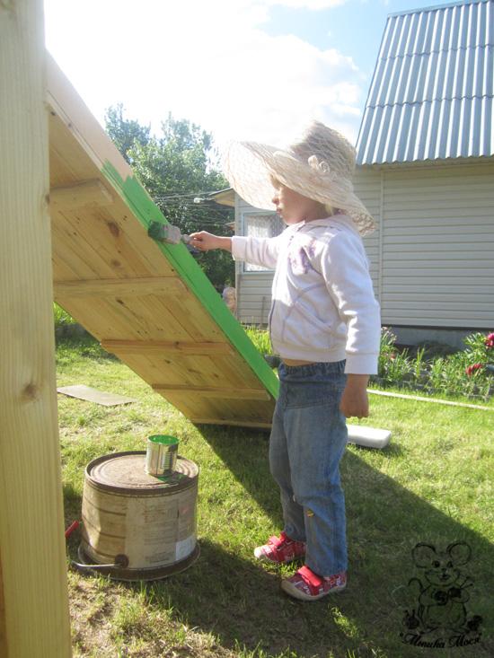 детская площадка на даче своими руками, как покрасить горку