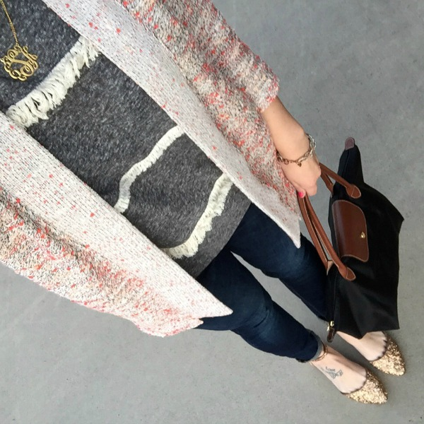 old navy cardigan, glitter flats, longchamp bag
