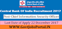 Central Bank of India Recruitment 2017– Chief Information Security Officer